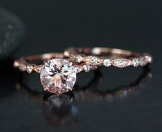Morganite Wedding Ring Set in 14k Rose Gold by Twoperidotbirds / http://www.deerpearlflowers.com/rose-gold-engagement-rings/