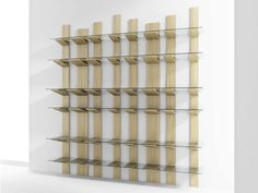 Contemporary style wall-mounted sectional solid wood bookcase JASPER by Passoni Nature design Simone Princisgh
