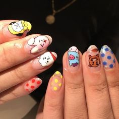 If you're a BTS ARMY you probably have thought of showing off your love for BTS in any way possible. K Pop Nails, Swag Nails, Cute Nails, Pretty Nails, Grunge Nails, Nail Design Stiletto, Nail Design Glitter, Korean Nail Art, Korean Nails