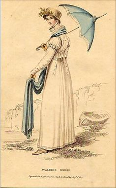 The parasol and shawl make the outfit. Seaside scene. Walking Dress, 1813 Lady's magazine