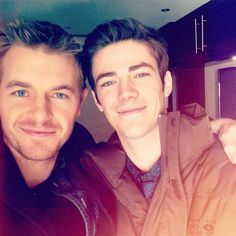 Rick Cosnett and Grant Gustin. Baes. The flash and police officer in the flash