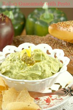 Italian Guacamole with Pesto and Parmesan - Low Calorie, Low Fat, Healthy Dip #SundaySupper