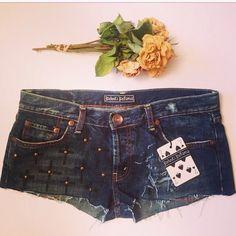 fde4456bb Items similar to Cross & stud upcycled denim shorts. Size 10. on Etsy