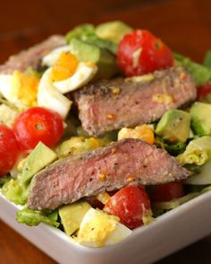 INGREDIENTS Servings: 2-4 1 pound sirloin steak, about ½ inch thick Salt & pepper 2 tablespoons oil 2 hearts romaine lettuce, chopped 3 hard-boiled eggs, diced 2 avocados, diced 2 cups cherry tomatoes, halved 3 tablespoons caesar dressing