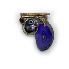 Wildpearl Amethyst and Purple druzy agate slice   Pin  Brooch    in Sterling Married Metals    by Cathleen McLain McLainJewelry 11279
