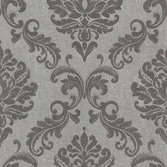 Beacon House Sebastion Damask Wallpaper Gray - 450-67362