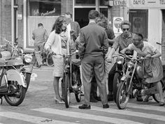 vintage everyday: Amsterdam, Summer of 1959 Vintage Pictures, Old Pictures, Old Photos, Beatnik, Hot Bikes, Amsterdam Netherlands, Famous Photographers, Vintage Photographs, World War Two