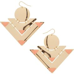 Enamel Tip Earrings (1.650 RUB) ❤ liked on Polyvore featuring jewelry, earrings, accessories, schmuck, orange earrings, enamel earrings, circle earrings, enamel jewelry and triangle earrings