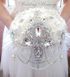Brooch Bouquet Wedding cascading jeweled Bouquet by MemoryWedding Wedding Brooch Bouquets, Bride Bouquets, Bridesmaid Bouquet, Floral Wedding, Wedding Day, Bling Wedding, Alternative Bouquet, Bridal Flowers, Princess Wedding