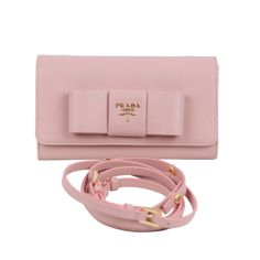 PRADA Pink Leather SAFFIANO FIOCCO Ribbon STRAP WALLET Purse WOC 1M1437 w/BOX   From a collection of rare vintage wallets and small accessories at https://www.1stdibs.com/fashion/handbags-purses-bags/wallets-small-accessories/