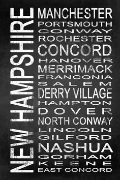 Subway New Hampshire State 1 by Melissa Smith   Urban Art District.  Modern subway sign chalkboard typography features destinations in New Hampshire state such as: Manchester, Portsmouth, Conway, Rochester, Concord, Hanover, Merrimack, Franconia, Salem, Derry Village, Hampton, Dover, North Conway, Lincoln, Gilford, Nashua, Gorham, Keene, East Concord  Embrace your love for New Hampshire and add some urban sophistication to compliment your modern style with a stylish subway sign. It…