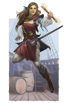 f Rogue Arcane Trickster Leather Armor Sword Magic Rod ship boat river coastal RPG Female Character Portraits Half Elf Pathfinder, Pathfinder Character, Pathfinder Races, Dungeons And Dragons Characters, Fantasy Characters, Female Characters, Fantasy Figures, Fantasy Portraits, Character Portraits