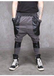 Drop Crotch Viscose Leather Paneled Jersey Pants
