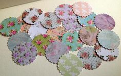 Card Large Scalloped Edge Circle Shapes, Vintage Florals Printed Card, 100pk £1.20