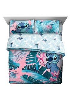 Lilo & Stitch Blue/Pink Tropical Flowers Kids Bedding Set w/ Reversible Comforter, Size: Full Lilo Ve Stitch, Lilo And Stitch Quotes, Disney Stitch, Cute Bedding, Kids Bedding Sets, Queen Bedding Sets, Grey Bedding, Peluche Stitch, Disney Bedding