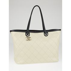 Pre-owned Chanel Beige Quilted Caviar Leather Shopping Fever Large... ($2,610) ❤ liked on Polyvore featuring bags, handbags, tote bags, chanel tote, leather tote purse, tote handbags, chanel tote bag and leather tote
