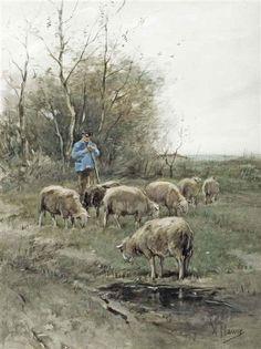 Anton Mauve - Tending the flock; Medium: watercolour and gouache on paper
