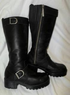 Harley Davidson Women's Black Leather Riding Motorcycle Long Boots Zipper 8 | eBay
