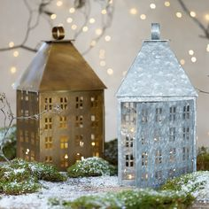 Metal House Lantern, Large in HOLIDAY Lanterns + Votives at Terrain