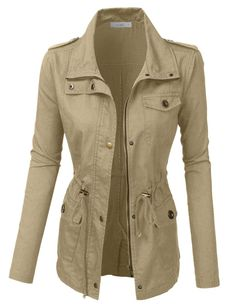 LE3NO Womens Anorak Utility Military Jacket with Drawstring