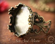 1 Princess Filigree Ring Bases with GLASS Insert - Antiqued Brass Flower Rings Adjustable Rings - 20mm Setting Ring Blanks on Etsy, $1.00