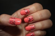 Reverse tips nails. Coral base and A Cut Above glitter