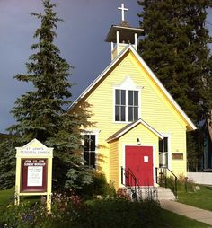 Cute yellow country church