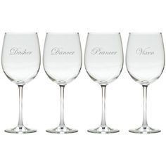 How adorable is this set of Santa's Reindeer Etched Wine Glasses?  Beautifully etched, this set of elegant wine glasses is great for entertaining this holiday season.