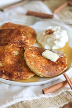 Cinnamon Swirl Paleo Pancakes | theroastedroot.net Made using almond flour and coconut sugar for a healthy yet delicious breakfast #brunch #paleo #glutenfree #pancakes