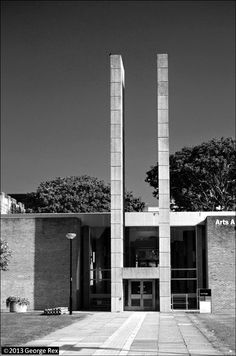Sir Basil Spence completed Red brick and shuttered concrete, with entrance pylon given a spectacular modern interpretation. University of Sussex campus, Falmer, Sussex. University Of Sussex, Red Bricks, Basil, Entrance, Memories, Modern, Memoirs, Entryway, Souvenirs