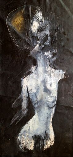 """Khara Oxier; The Departure, 50"""" x 23"""" oil, wash , pastel on loose canvas."""