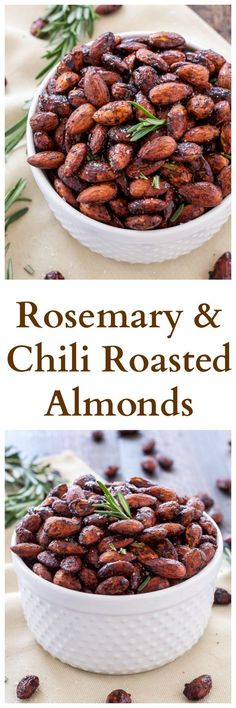 Rosemary and Chili Roasted Almonds | Sweet, salty, slightly spicy roasted almonds that are perfect for snacking!