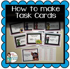 Math, Science, Social Studies……Oh, my!: How To Make Task Cards - Pin Hairs Teaching 5th Grade, Teaching Secondary, 5th Grade Math, Teaching Math, Teacher Organization, Teacher Tools, Teacher Resources, Teacher Binder, Math Task Cards