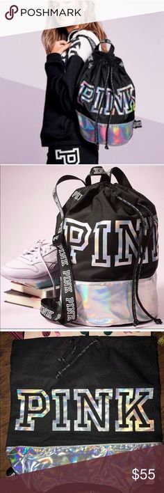 PINK metallic drawstring bag So cute! So stylish! This backpack is just the right size for stashing your campus essentials. Score it now for a limited time!  Drawstring closure Adjustable straps Top handle Imported fabric PINK Victoria's Secret Bags Backpacks