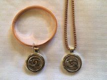 Rose gold, silver Chanel necklace and bracelet set by Vswaggercouture on Etsy