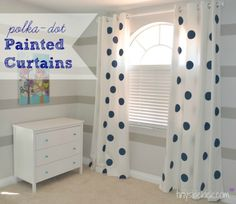 How to Paint Curtains:  Painting Jumbo Polka-dots on these curtains saved a lot of money on this room makeover.