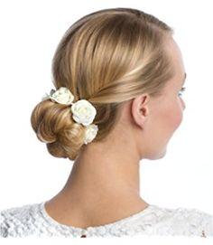 """SIX """"Hochzeit"""" weißer Haargummi für Dutts, Bun-Ring mit Textil-Rosen, Brautschmuck (313-656) http://amzn.to/2sqLaGb"""