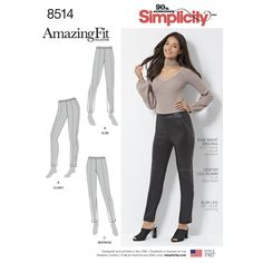 This Amazing Fit pattern for Misses'/ Miss Petite skinny pants has separate pattern pieces for slim, average and curvy fit to help you achieve the perfect fit. Optional ankle slits or zipper opening. Find this pattern at Simplicity.com.