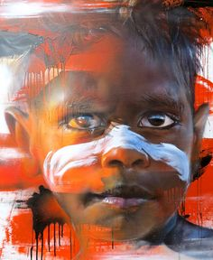 Artist of my Day : Matt Adnate, painting Murals Street Art, Street Art Graffiti, Mural Art, 3d Street Painting, Painting Art, Paintings, Arte Black, Aboriginal Art, Aboriginal History