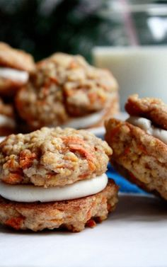 Carrot Cake Sandwich Cookies with Cream Cheese Frosting Filling (used only 1/4 tsp ginger, no nuts or raisins, frosting recipe makes twice as much as needed, but freezes well)