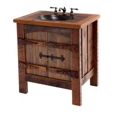 Bathroom Furniture Rustic Vanities Barnwood Vanity Hammered Copper Sink Stone Pedestal Sinks Bathrooms Beyond Beautiful Pinterest