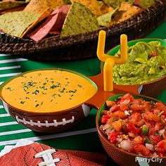 Chips and dip – it's not a football party without it! Click to get more fan-tastic football party ideas to get your guests pumped for the game and the food!