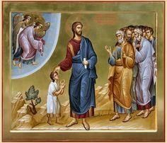 """Assuredly, I say to you, whoever does not receive the kingdom of God as a little child will by no means enter it. Religious Pictures, Religious Icons, Religious Art, Byzantine Icons, Byzantine Art, Faith Of Our Fathers, Church Icon, Life Of Christ, Russian Icons"