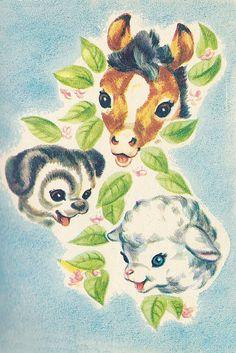 Baby Animals by Naoma Zimmerman and illustrated by Marge Opitz, Vintage Pictures, Vintage Images, Retro Baby, Vintage Prints, Vintage Artwork, Vintage Style, Children's Book Illustration, Vintage Cards, Vintage Children