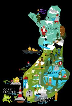 Get familiar with our four distinct regions, Helsinki, Archipelago, Lakeland & Lapland and explore their attractions with our animated map. Finland Trip, Finland Travel, Finland Summer, Sweden Travel, Helsinki, Travel Maps, Travel Posters, Voyage Europe, Travel Illustration