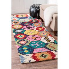 nuLOOM Handmade Southwestern Abstract Honeycomb Wool Multi Rug (2'6 x 8') (Multi), Blue, Size 2' x 8'