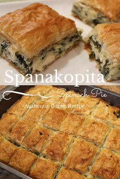 (This is almost the same as my Greek friends recipe but he doesn't add goat cheese.) My family's authentic recipe for Spanakopita passed down through my family from Sparta, Greece! Spinach pie is absolutely delicious. Think Food, Love Food, Quiches, Vegetarian Recipes, Cooking Recipes, Greek Food Recipes, Authentic Greek Recipes, Authentic Food, Greek Desserts