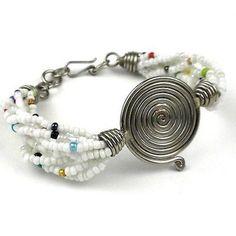 Single Spiral 'Progress' White Beaded Bracelet by Zakali Creations Jewelry Patterns, Bracelet Patterns, Beaded Jewelry, Beaded Bracelets, Silver Bracelets For Women, Music Jewelry, Jewelry Box, Bracelet Display, Fair Trade Jewelry