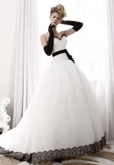 black and white bridal gowns Black And White Wedding Dress Black White Wedding Dress, Lace Dress Black, White Bridal, Elegant Wedding Dress, Colored Wedding Dresses, White Dress, Black White Weddings, Black Wedding Gowns, Black Ruffle