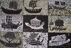 Inspiration: Black and white ship mosaics from Ancient Rome . These grade were studying the ancient world as well as learning Italian . Paper Mosaic, Mosaic Art, Ancient Rome, Ancient Art, Ancient Greece, Mosaics For Kids, Art Romain, Rome Art, Greece Art